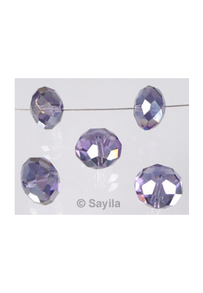 www.sayila.com - Glass bead crystal roundel faceted with AB lustre ± 10x7mm