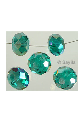 www.sayila.com - Glass bead crystal roundel faceted with AB lustre ± 12x8mm