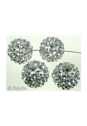 www.sayila-perlen.de - Kunststoff Perle rund mit Klebsteinen ± 16x18mm