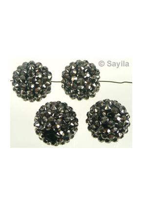 www.sayila.es - Abalorio de material sintético, redondo con piedras adhesivo ± 18mm