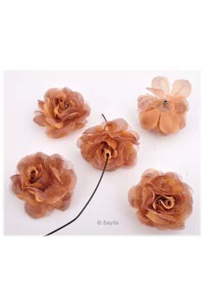 www.sayila.be - Stoffen kraal, bloem voor bloemoorbellen ± 43x22mm