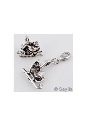 www.sayila.es - Colgante/dije de metal trineo con cierre ± 38x21mm (cierre ± 12x7mm)