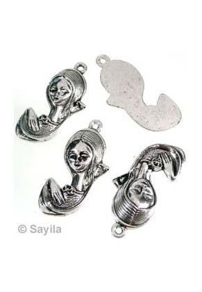 www.sayila-perlen.de - Metall Anhänger Mädchen ± 39x18mm
