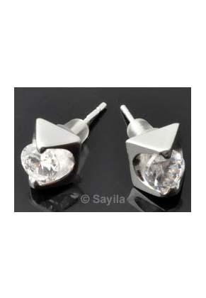 www.sayila.nl - Zilveren oorsteker 925 zilver met strass en dopje ± 17x7mm