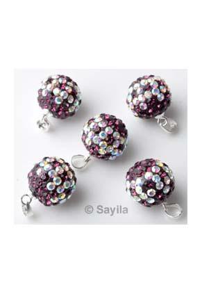 www.sayila.com - Pendant/charm ball 925 silver 19x12mm with strass