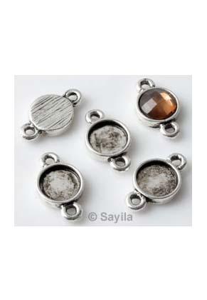 www.sayila.es - Colgante/conector de metal ± 15x8,5mm para piedra adhesiva redondo ± 7mm (apropriado por Swarovski Flat Back 2058 SS34 piedras adhesivas)
