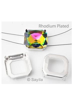 www.sayila.nl - Brass opnaai/rijgkastje vierkant (messing) rhodium plated ± 23mm voor similisteen vierkant ± 23mm (geschikt voor Swarovski 4675 similisteen)