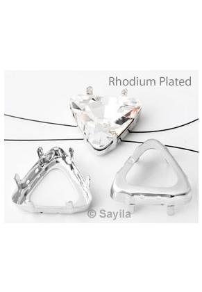 www.sayila.es - Cuadro triángulo para ensartamiento de brass (latón) rhodium plated ± 25mm para imitación de diamante ± 23mm (apropriado por Swarovski 4727 imitaciónes de diamantes)