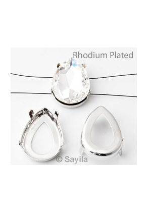 www.sayila-perlen.de - Brass Aufreihfassung Tropfen (Messing) rhodium plated ± 30x20mm für Similistein ± 30x20mm (geeignet für Swarovski 4327 similistein)