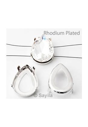 www.sayila.nl - Brass opnaai/rijgkastje druppel (messing) rhodium plated ± 18x13mm voor similisteen druppel ± 18x13mm (geschikt voor Swarovski 4320 similisteen)