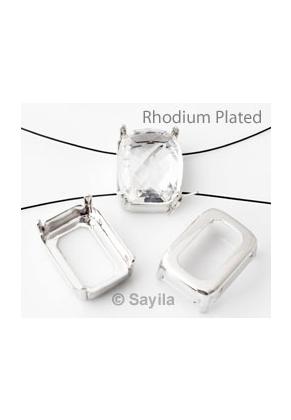 www.sayila.nl - Brass opnaai/rijgkastje rechthoek (messing) rhodium plated ± 18x13mm voor similisteen rechthoek ± 18x13mm (geschikt voor Swarovski 4565 similisteen)