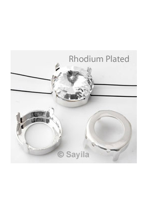 www.sayila.com - Brass setting round for stringing/sewing rhodium plated ± 16mm for rivoli round ± 16mm (suitable for Swarovski 1122 rivoli)