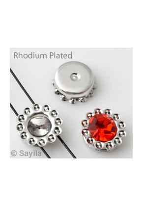 www.sayila.nl - Brass rijgkastje (messing) rhodium plated ± 7,5mm voor similisteen rond ± 1,5mm en ± 4mm (geschikt voor Swarovski PP9 en PP32 similisteen)
