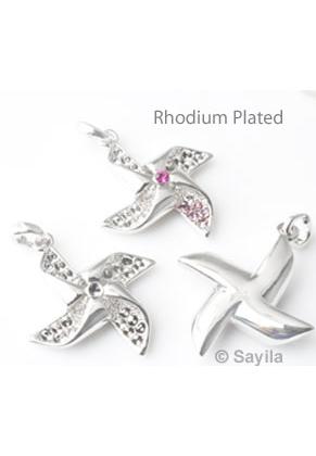 www.sayila.nl - Metalen hanger/bedel molentje Rhodium Plated ± 37x28mm voor similisteen rond ± 2mm (geschikt voor Swarovski PP14 similisteen)