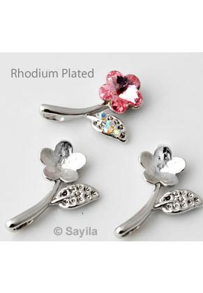 www.sayila.es - Colgante/dije de metal, flora Rhodium Plated ± 23x16mm para imitación de diamante flora ± 10mm y redondo ± 1,5mm (apropriado por Swarovski PP9 y 4744 10mm imitaciónes de diamantes)