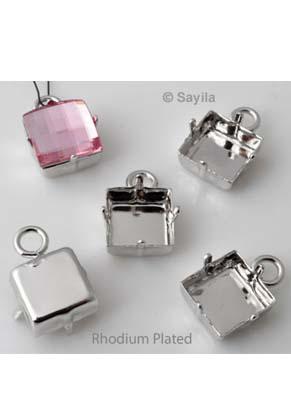 www.sayila.nl - Brass hanger/bedel (messing) vierkant, rhodium plated ± 18x12mm (oogje ± 3,5mm) voor similisteen vierkant ± 12mm (geschikt voor Swarovski 2493 of 4447 similisteen)