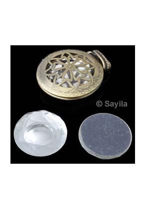 www.sayila.nl - Glas plaksteen rond facet geslepen, uitgeslepen in het midden ± 24mm