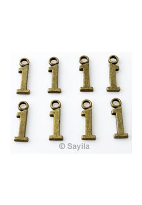 www.sayila.nl - Metalen hanger/bedel cijfer 1 ± 15x5mm