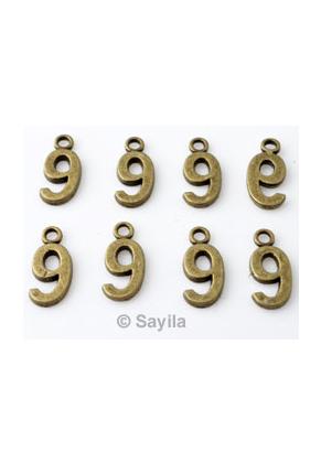 www.sayila.nl - Metalen hanger/bedel cijfer 9 ± 15x7mm