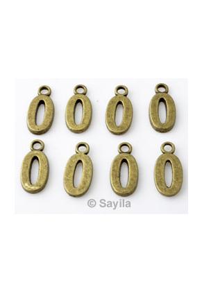 www.sayila.nl - Metalen hanger/bedel cijfer 0 ± 15x7mm