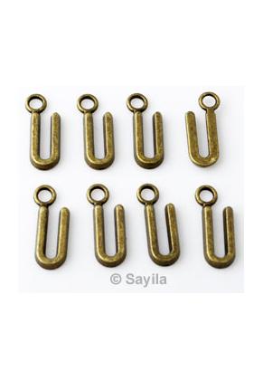 www.sayila.nl - Metalen hanger/bedel letter U ± 16x6mm