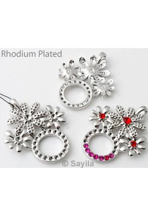 www.sayila.nl - Metalen hanger/bedel rhodium plated, bloemen ± 47x36mm voor SWAROVSKI ELEMENTS 1028 PP24 (± 3,1mm) en PP32 (± 4mm) similistenen