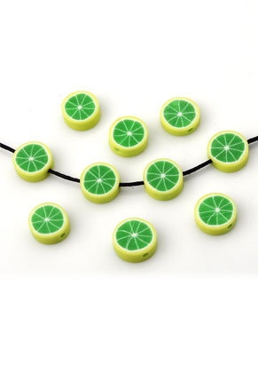 www.sayila.com - Polymer clay bead flat round fruit lemon ± 11x4mm (hole ± 1,5mm)