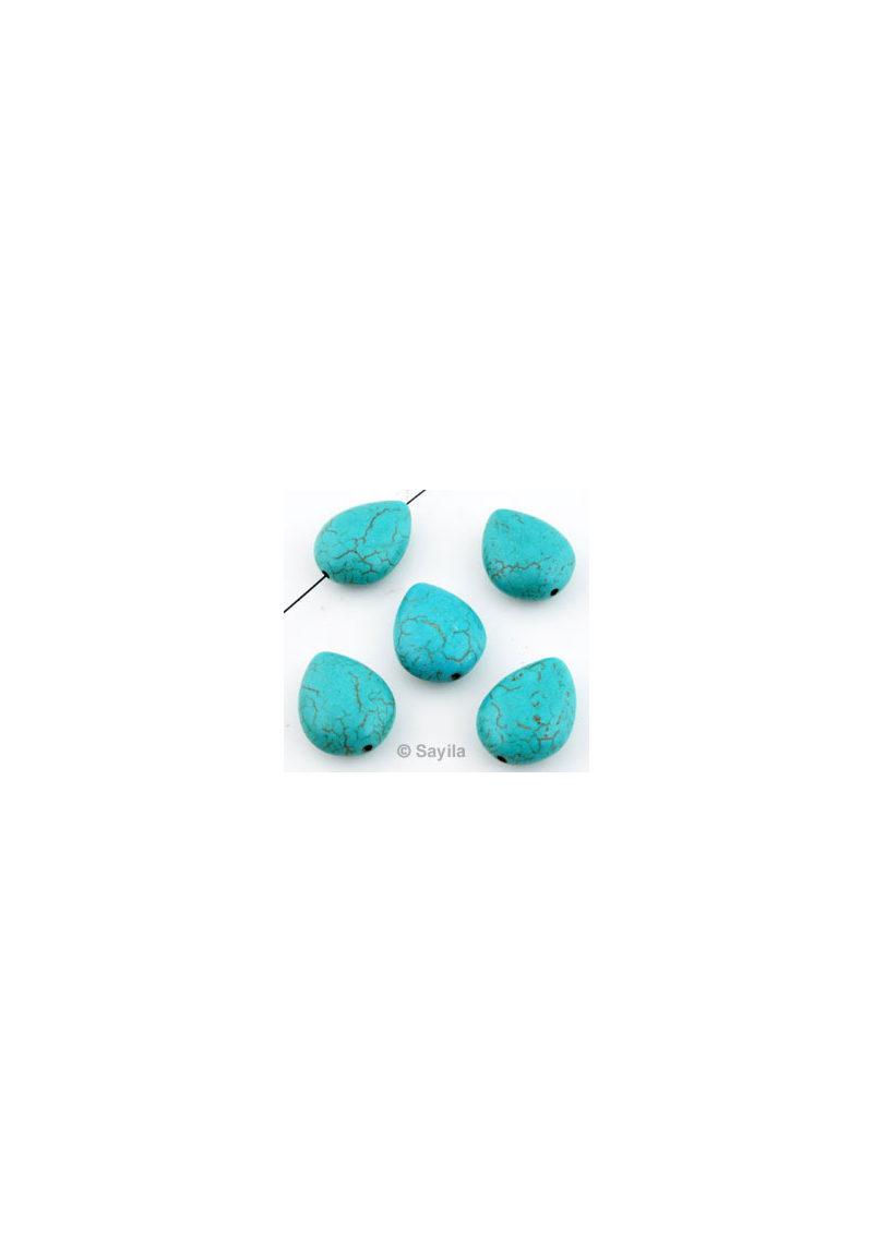 perle pierre naturelle turquoise howlite goutte 19x15mm. Black Bedroom Furniture Sets. Home Design Ideas
