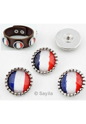 www.sayila.fr - EasyButton/bouton-pression de métal, avec de matière synthétique, drapeau Français ± 21x10mm (appropriée pour bijoux EasyButton taille: S)