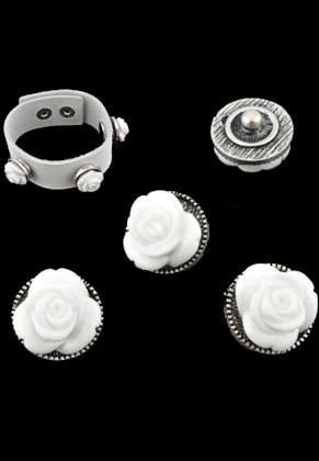 www.sayila.com - Metal EasyButton/press stud with Synthetic flower ± 16x12mm (suitable for EasyButton jewelry size: S)