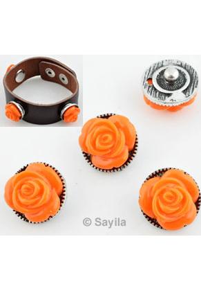 www.sayila.es - EasyButton/botone de presión de metal, con flor de material sintético ± 16x12mm (apropiado por joyería Easybutton talla: S)