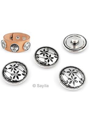 www.sayila.nl - Metalen DoubleBeads EasyButton/drukknoop, bloemetjes ± 18x7mm (geschikt voor EasyButton sieraden maat: L)