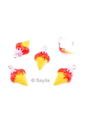 www.sayila.com - Synthetic pendant/charm ice cream, with metal eye ± 23x13mm (eye ± 2mm)