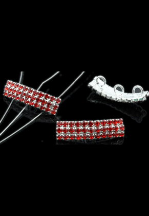 www.sayila.com - Brass bead divider, 3 holes (hole ± 3mm), with strass ± 28x7mm