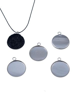 www.sayila-perlen.de - Metall Anhänger rund 29x26mm für Klebstein rund 25mm