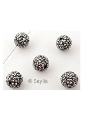 www.sayila.com - Polymer clay bead round with strass ± 10mm (hole ± 1,5mm)