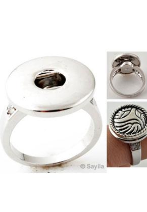 www.sayila.nl - Brass vingerring (messing) rhodium plated met zirkonia 17,5mm