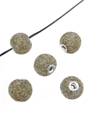 www.sayila-perlen.de - Kashmiri rund Handgemacht mit Polymerton (Knete)mit Metall Kern und Glasgranulat/Micro beads ± 16x15mm (Loch ± 3mm)