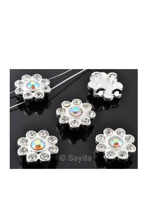 www.sayila-perlen.de - Metall Anhänger/Zwischenstück/Verteiler Blume mit Strass ± 15,5x16mm (Loch ± 1,5mm)