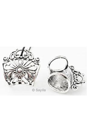 www.sayila.nl - Metalen hanger/sjaal-ring bewerkt voor sjaal ketting, bloem ± 33x32,5x18,5mm (gat ± 16x15mm)