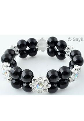 www.sayila-perlen.de - EasyPack Perlenset Armband von Kunststoff perlen mit Metall perle Verteiler, Blume mit Strass, Innermaß ± 15,5cm, elastisch (Umfang ± 10mm)