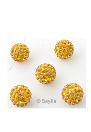 www.sayila.com - Polymer clay bead round with strass ± 12mm (hole ± 2mm)