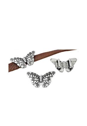 www.sayila.nl - Metalen schuifkraal vlinder versierd ± 33x20mm (gat ± 9x3,5mm)