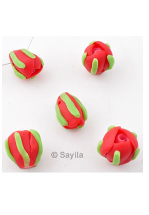 www.sayila.com - Polymer clay bead flower bud ± 16x14mm (hole ± 2mm)