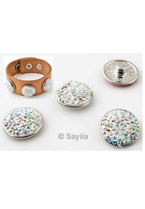 www.sayila.es - DoubleBeads EasyButton/botone de presión de brass (latón), con arcilla polimérica y strass ± 18x8mm (apropiado por joyería EasyButton talla: L)