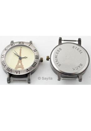 metall uhr f r armbanduhr bearbeitet mit r mische ziffern und eiffelturm 40x35mm. Black Bedroom Furniture Sets. Home Design Ideas