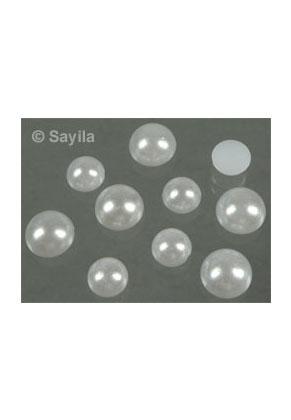 www.sayila.nl - BudgetPack Mix Kunststof parel plaksteen/ cabochon rond ± 8-10x4mm <b>(geen gat)</b>