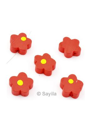 www.sayila.nl - Houten kraal bloemetje ± 15x5,5mm (gat ± 2mm)