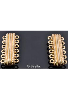 www.sayila.fr - Fermoir magnétique avec 2 rangées de 6 yeux ± 33x14mm (yeux ± 1,5mm) (attention: déconseillé aux personnes portant un pacemaker)
