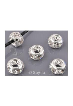 www.sayila.fr - Perle en brass (laiton) rondelle avec strass ± 12x8mm à grand trou (trou ± 2,5mm)
